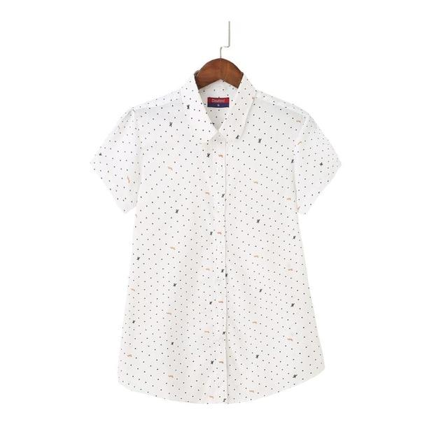 Dioufond Casual Floral Short Sleeve Shirt Print White Blouse Turn-down Collar Cotton Women Blouses Summer Style Ladies Tops 2018-noashe