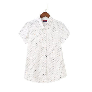 S-5XL New 2018 Women's Shirt Polka Dot Plus Blouses Womens Printing Tops Ladies Short Sleeve Shirts White Button Female Blusas-noashe