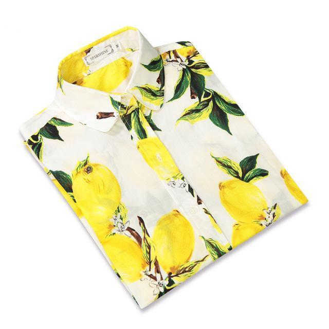 SPARSHINE Blusas Mujer De Moda 2017 Yellow Lemon Printing Long Sleeve Casual Blouse Ladies Office Shirt Women Tops Plus Size 5XL-noashe