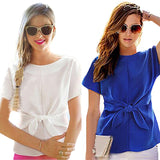 2017 New Blue Women Summer Blouses Chiffon Shirt Short Sleeves Bottoming Shirt O-Neck Girls T Tops With Bowknot Plus Size S-2XL-noashe