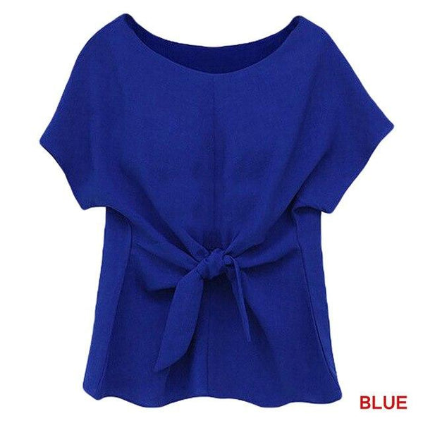 2017 New Blue Women Summer Blouses Chiffon Shirt Short Sleeves Bottoming Shirt O-Neck Girls T Tops With Bowknot Plus Size S-2XL
