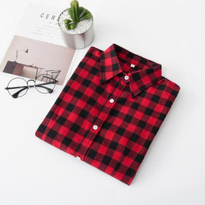2018 Women Blouses Brand New Excellent Quality Flannel Red Plaid Shirt Women Cotton Casual Long Sleeve Shirt Tops Lady Clothes-noashe