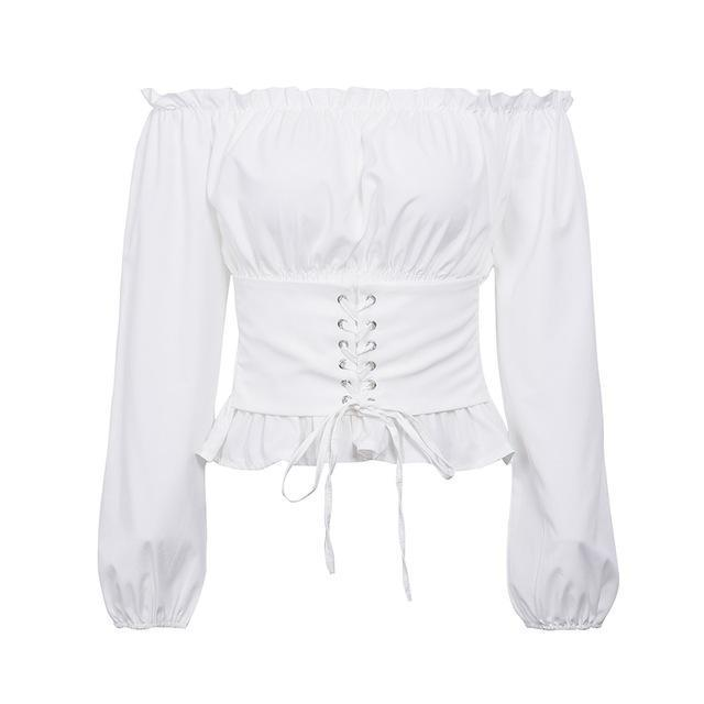 Simplee Off shoulder lace up sexy blouse shirt Women ruffle long sleeve blouse tops 2018 Vintage summer white blouse feminine-noashe