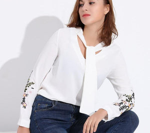 Office Women Blouses Embroidery White Shirt Bow Chiffon Blouse Women Blusa Feminina Embroidered Tops Plus Size Feminine Shirts-noashe