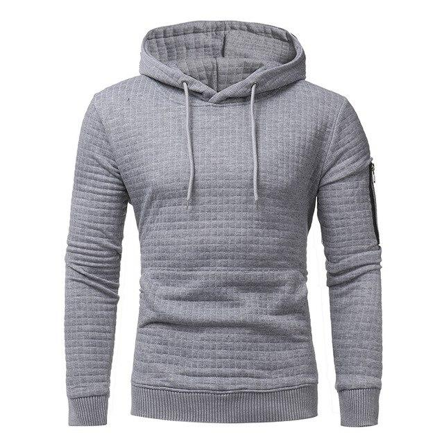 LeeLion 2018 Solid Plaid Hoodies Men Hooded Sweatshirts Spring Spring Fashion Cotton Sportswear Men's Slim Fit Pullovers New-noashe