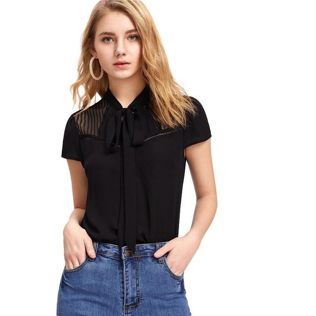 SHEIN Elegant Tie Neck Bow Eyelet Mesh Top Black Stand Collar Cap Sleeve Women Plain Blouse 2018 Spring Casual Sheer Blouse-noashe