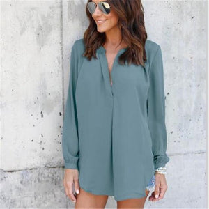 4XL 5XL Big Size 2018 New Spring Women Tops Casual Street Long Sleeve V-Neck Blouse Loose Plus Size Female Chiffon Blouse Shirts-noashe