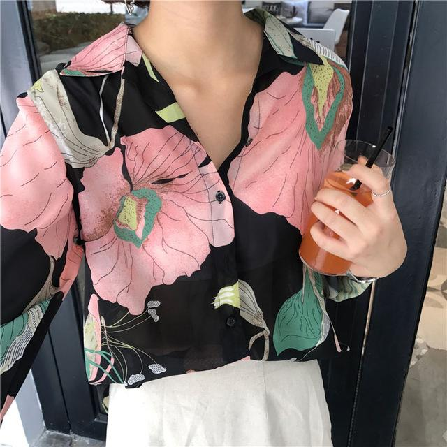 RUGOD Printed V-neck Vintage Elegant Shirts Women 2018 Spring Hot Sale Knitted Casual Long Sleeve Stylish Cotton Women's Blouse-noashe
