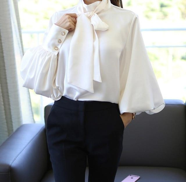 2017 Pure White Bow Tie Blouse Chiffon Women Office Shirt Lantern Sleeve Blouses Blusas Femininas Formal Ladies Tops-noashe