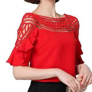 YEYELANA 2018 summer women Chiffon Blouse Shirt Lace Tops Lotus Leaf Sleeves Slim Sexy Hollow Out Stitching Blouses A067-noashe