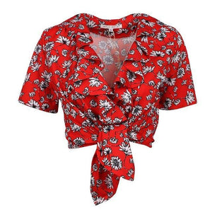 WOTWOY Deep V-Neck Blouse Women Floral Print Sexy Tops Women 2018 Summer Red Blouses Ladies Crop Top Female Kimono Short Sleeve-noashe