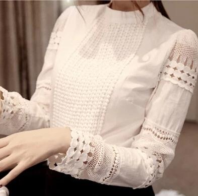 YEYELANA Women Blouses 2018 Spring Summer Long Sleeve Shirt Women White Lace Blouse Camisas Femininas Woman Tops Clothes A002-noashe