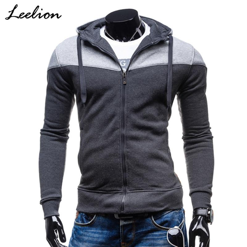 LeeLion 2018 Autumn Cotton Sweatshirt Men Hoodies Zipper Cardigan Sportswear Slim Fit Coat Solid Tracksuit Hip Hop Streetwear-noashe