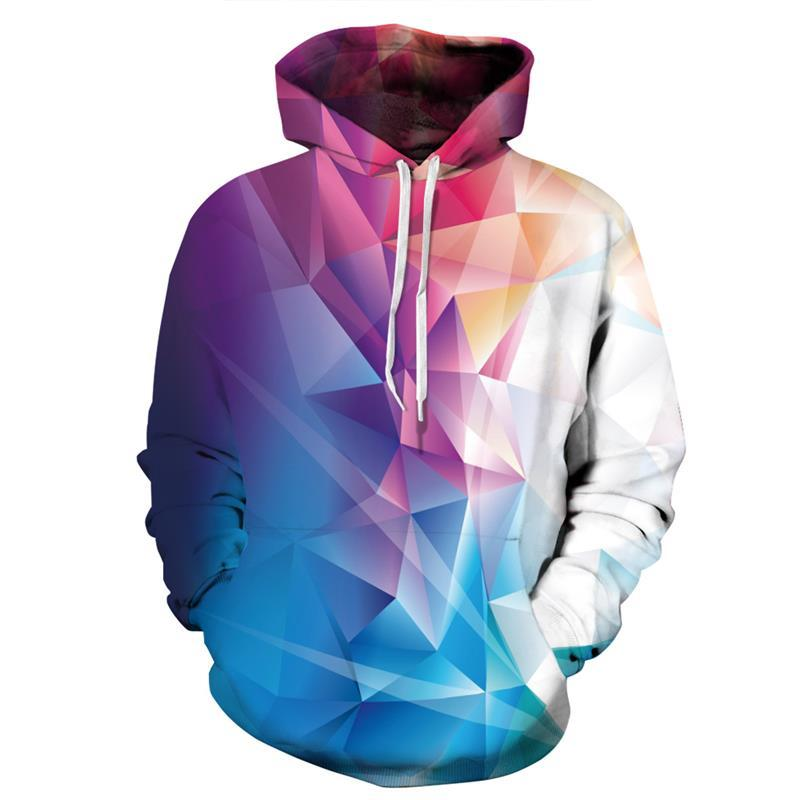 New Gradient Diamond geometry Printed 3D Hoodies Animal Men Sweatshirts Funny Loose Jackets Pullover Casual Hip Hop Tracksuits-noashe