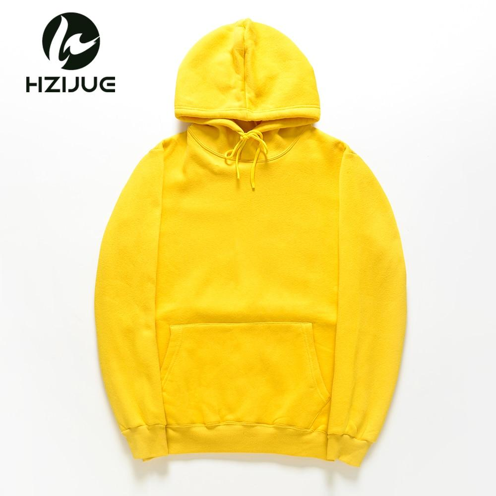 HZIJUE 2018 New yellow/orange/blue/red HOODIE Hip Hop Street wear Sweatshirts Skateboard Men/Woman Pullover Men's Thick Clothes-noashe
