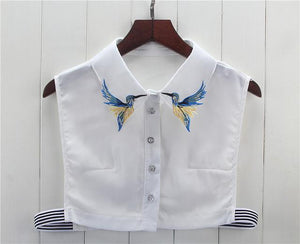 Newly Design Fashion Heavy bird embroidery necklace vest blouse Shirt false Collar neck Women Detachable Vertical Small Lapel-noashe