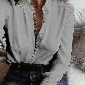 Drop Shipping Blouse Casual Loose long-sleeved lapel single-breasted shirt Autumn Chiffon Shirt Ruffle Top Camisas##-noashe