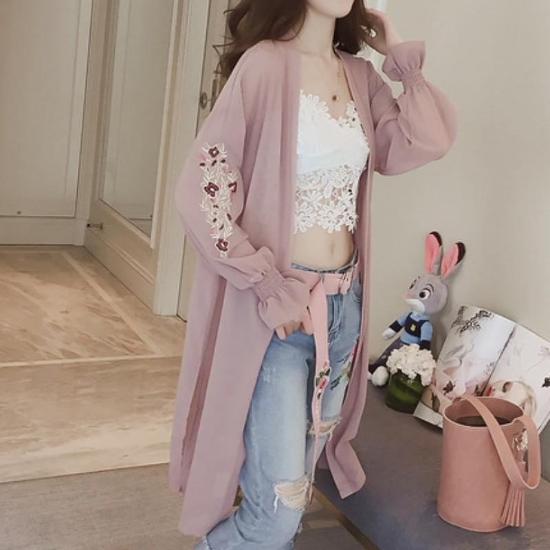 Summer Kimono Cardigan Pink white Women 2018 Korean Flare Sleeve Floral Embroidery Chiffon Blouse Long Shirt Women Cardigans-noashe