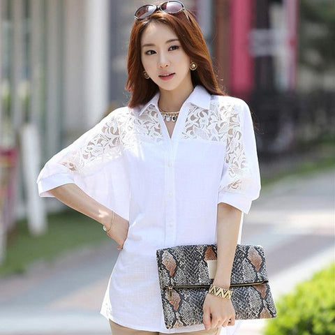 Large Size 3XL Summer Female White Tops Women's Blouse Fashion 2018 Spring Casual Batwing Sleeves Shirt Female Tops Hots T82803A-noashe