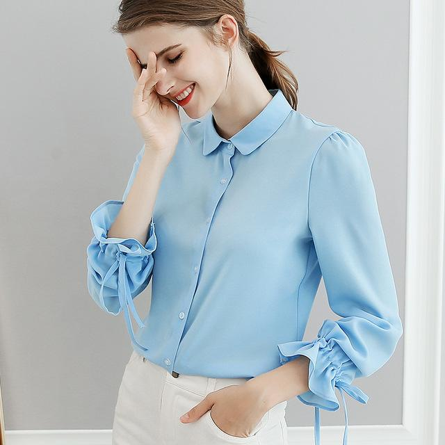 New Spring Summer Women Blouses 2018 Fashion Large Size Solid Slim Shirt Flare Sleeve Casual Chiffon Shirts Office Slim Tops 2XL-noashe
