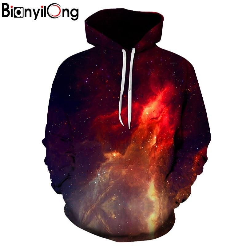 2018 new red Space Galaxy Hoodies Men/Women 3d Sweatshirts Print Purple Nebula Clouds Thin Autumn Winter Hooded Hoodies tops-noashe