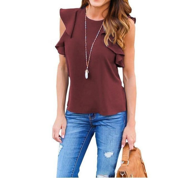 212099fc35c ZANZEA Women Blouse 2018 Summer Sexy O Neck Sleeveless Ruffles Shirts  Casual Slim Solid Blusas Plus