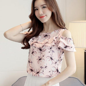 2018 Summer Print Floral Chiffon Blouse Women Off Shoulder Shirts Short Sleeve Blouses Casual Ladies Clothing Blusas Women Tops-noashe