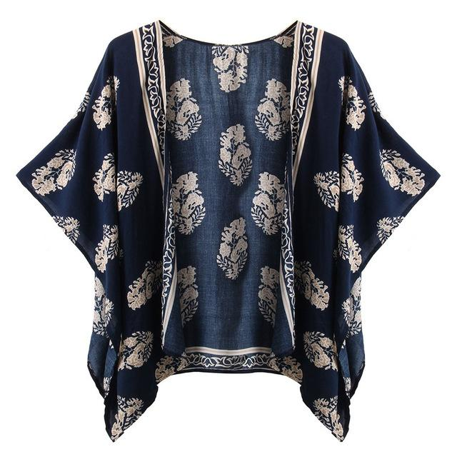 Plus Size S-4XL 2018 Summer Style Women Casual Loose Bat Half Sleeve Blouses Tops Jackets Print Kimono Cardigan Coats Outwear-noashe