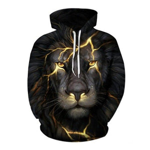 3d Animal Hoodie Sweatshirts 2018 Men Women Cotton Loose Hoody Pullover Tops Male Black Lion Printed Harajuku Hip Hop Tracksuit-noashe