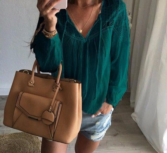 Oversized 2018 Autumn ZANZEA Women Casual Loose Lace Solid Blouses Shirts Sexy V Neck Long Sleeve Splice Hollow Out Blusas Tops-noashe