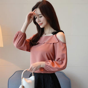 new arrived 2018 spring blouse women long sleeve shirt female chiffon shirt fashion solid bottoming clothing tops D436 30-noashe