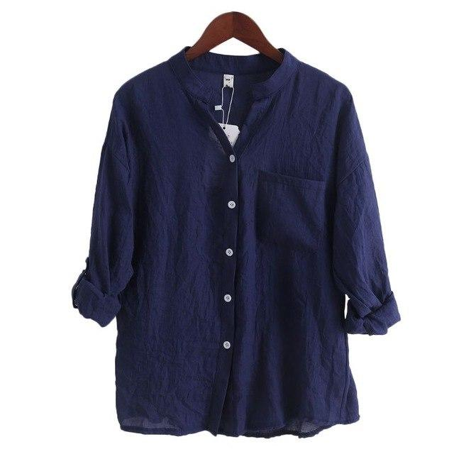 Women Tops Fashion Korean Style Autumn Linen Shirt Long Sleeve Blouse Chemisier-noashe