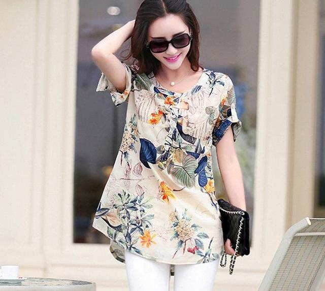 d6c80075260 ZANZEA Women Tops 2018 Summer Vintage Floral Print Blouses O Neck Short  Sleeve Shirts Casual Loose