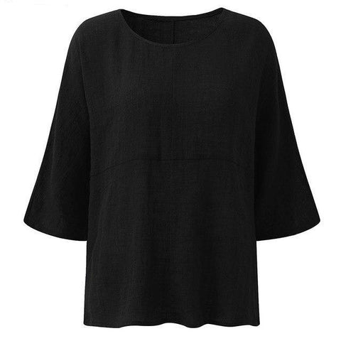 ZANZEA Womens Fashion Crew Neck 3/4 Sleeve Cotton Linen Baggy Blouse 2018 Autumn Casual Loose Blusas Solid Shirts Work Tops-noashe