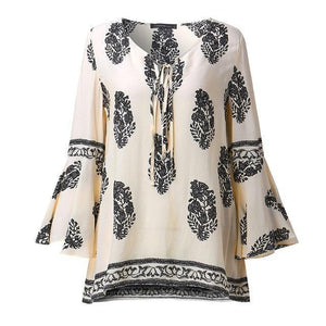 ZANZEA 2018 Womens Boho Lace-Up V-Neck Shirt Big Size Floral Print Flare Sleeve Casual Loose Beach Tops Blouse Plus Size-noashe