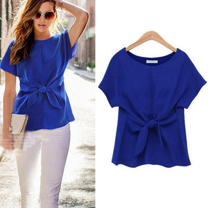Fashion Ladies Short Sleeve Sexy Blouse Lace-up Chiffon Solid Color Vintage Shirt Elegant Ladies Blouses Women Tops New-noashe