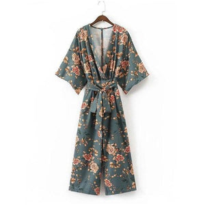 Free Ostrich 2018 Women Vintage Kimono Shirts Sashes Side Split Long Sleeve Ladies Autumn Outerwear Long Tops Sep6-noashe