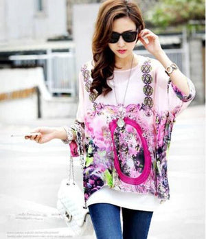 Women Blouses and Tops New Fashion 2018 Floral Print Short Sleeve Summer Blouse Plus Size 4XL 5XL 6XL Women Chiffon Shirts Blusa-noashe