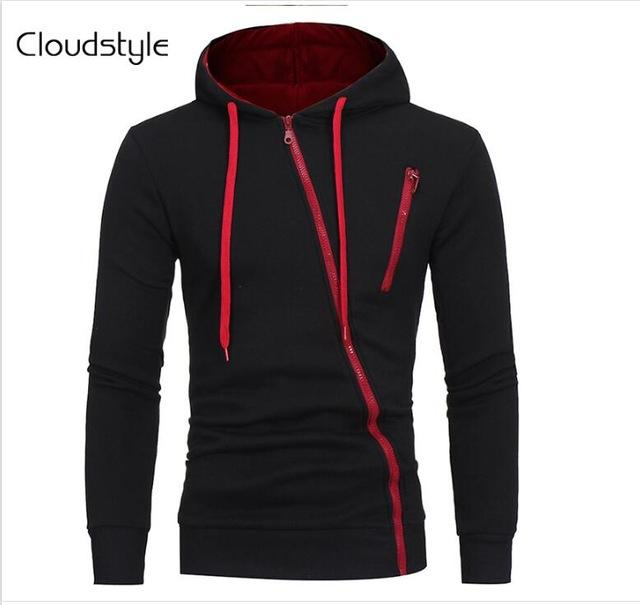 Cloudstyle 2018 Newest Design Fashion Men Zipper Hoodies Long Sleeve Slim Letter Print Packet Men Pullover Sweatshirts-noashe