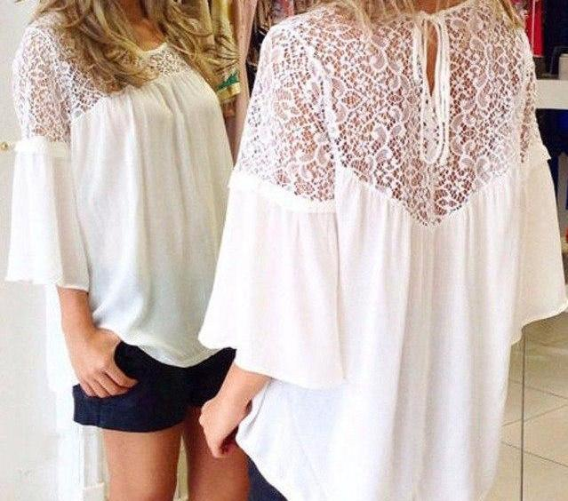 ZANZEA Plus Size 2018 Summer Style Women Blusas Chiffon Patchwork Lace Solid Shirts Casual Loose White Blouses Tops Oversized-noashe