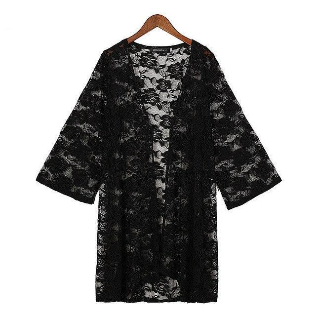 Kimono Cardigan For Women 2018 Summer Lace Embroidery Sexy Beach Hollow Out Blouses Shirts Outerwear Blusas-noashe