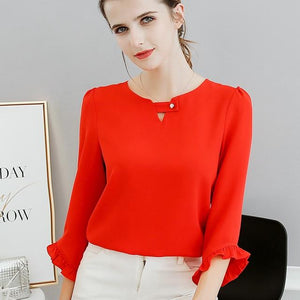 Women Spring Blouses Summer 2018 Fashion Sweet Cute Slim Long Sleeve Shirt Casual Red White Pink Shirts Female Plus Size Tops-noashe