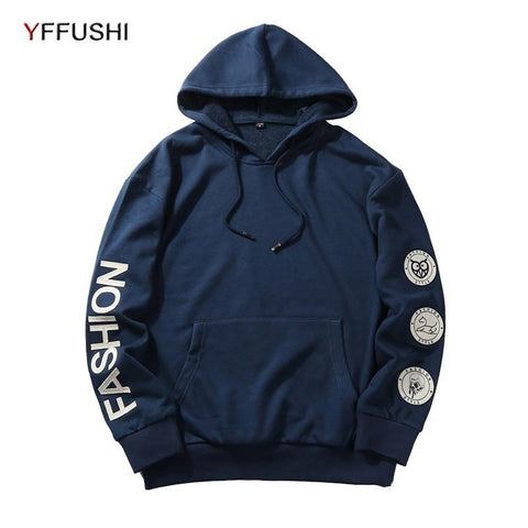 YFFUSHI 2018 Fashion Brand Men Hoodie Sweatshirt Spring Autumn Long Sleeve Men Sweatshirts Casual Patch Hooded Pullovers