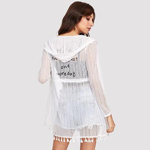 Dotfashion Slogan Print Tassel Hem Hooded Kimono Women Fringe Long Sleeve Vacation Blouse 2018 Summer Longline White Kimono-noashe