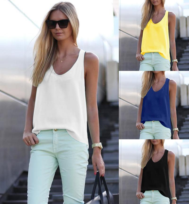 2018 New Women Summer Casual Tank Tops Sleeveless Chiffon Loose Vest Top Blouse Tee Shirt Hot Selling-noashe