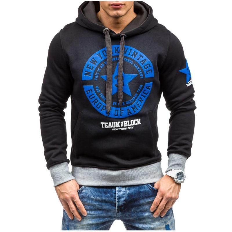 2018 hoodies men Casual Hip Hop Slim Fit Chest Printed Harness decoration Pullover Hoodies hoodies men sweatshirt XXL-noashe