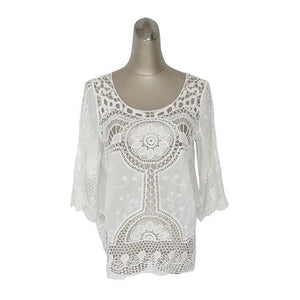 Aproms Blusa Feminina Summer Women White Lace Crochet Tropical Top Blouse 2018 Boho Hollow Beach Cover Up Blouse Beach Shirt-noashe