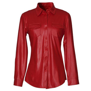 Elegant PU Leather Blouse Shirt Turn-Down Collar Long Sleeve Shirts Tops Casual Pockets Red Black Women Blouses Blusas Femininas-noashe