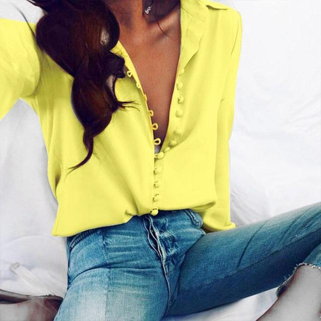 2018 Spring Plus Size ZANZEA Women Leisure Solid Lapel Buttons Long Sleeve Blouse S 5XL Casual Baggy Party Shirts Basic Blusas-noashe
