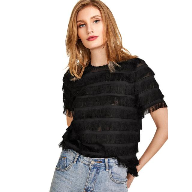 SHEIN Layered Tassel Keyhole Back Top Black Round Neck Short Sleeve Button Women Plain Blouse 2018 Summer Weekend Casual Blouse-noashe